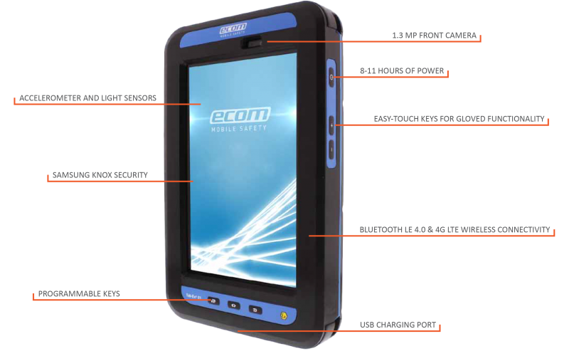 the intrinsically safe tablet from Ecom has many attractive features
